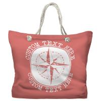 Personalized Compass Rose Tote Bag - Pantone 2030 C