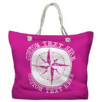 Personalized Compass Rose Tote Bag - Pantone Pink C