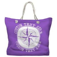 Personalized Compass Rose Tote Bag - Pantone 2083 C
