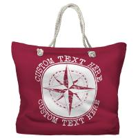 Personalized Compass Rose Tote Bag - Pantone 194 C