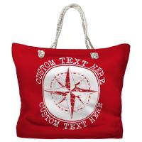 Personalized Compass Rose Tote Bag - Pantone 3546 C