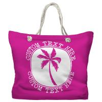 Personalized Island Palm Tote Bag - Pantone Pink C