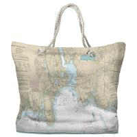 CT: Niantic, CT Nautical Chart Tote Bag