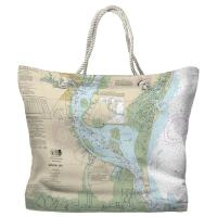 SC: Winyah Bay, SC Nautical Chart Tote Bag