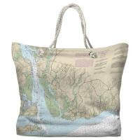 CT: Old Lyme, CT Nautical Chart Tote Bag