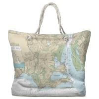 CT: Old Saybrook, CT Nautical Chart Tote Bag
