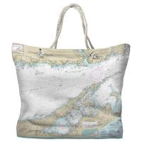 NY: Long Island Sound, NY (Eastern) Nautical Chart Tote Bag