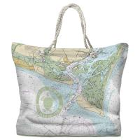 Bald Head Island, NC Chart & Logo Tote Bag