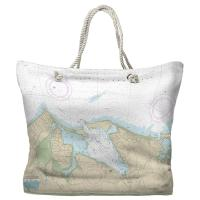 NY: Port Jefferson Harbor, NY Nautical Chart Tote Bag