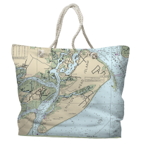 SC: Hilton Head Island, SC Nautical Chart Tote Bag