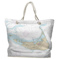 MA: Nantucket, MA Nautical Chart Tote Bag