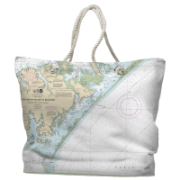 NC: Portsmouth Island to Beaufort, NC Nautical Chart Tote Bag