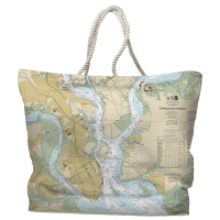 SC: Charleston, SC Nautical Chart Tote Bag