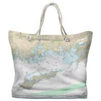 CT: Fishers Island Sound, CT Nautical Chart Tote Bag
