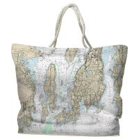 RI: Narragansett Bay, RI Nautical Chart Tote Bag