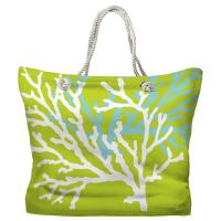 Coral Duo on Lime Tote Bag