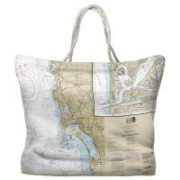 CA: San Diego, CA Nautical Chart Tote Bag