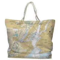NY: New York Harbor, NY Nautical Chart Tote Bag