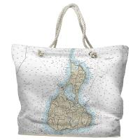 RI: Block Island, RI Nautical Chart Tote Bag