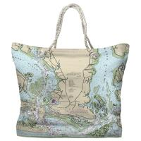 NC: Beaufort, NC Nautical Chart Tote Bag