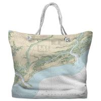 SC: Kiawah Island, SC Nautical Chart Tote Bag