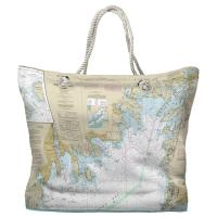 MA: Buzzards Bay, MA Nautical Chart Tote Bag - (2) Different Sides