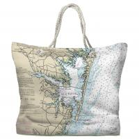 MD: Ocean City, MD Nautical Chart Tote Bag