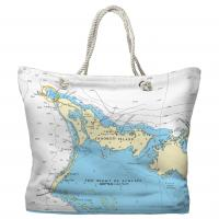 Crooked Island, Bahamas Nautical Chart Tote Bag