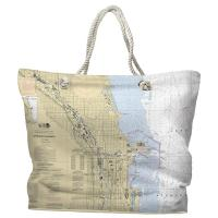 IL: Chicago Harbor, IL Nautical Chart Tote Bag