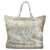 WA: Puget Sound Southern, WA Nautical Chart Tote Bag