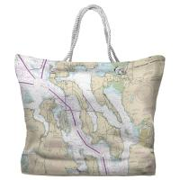 WA: Puget Sound Northern, WA Nautical Chart Tote Bag