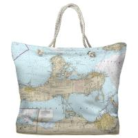 OH: Port Clinton, Catawba Island, Sandusky, OH Nautical Chart Tote Bag