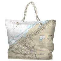 OH: Cleveland Harbor, OH Nautical Chart Tote Bag
