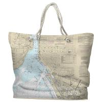 NY: Buffalo Harbor, NY Nautical Chart Tote Bag