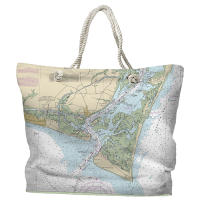 NC: Oak Island, Southport, Bald Head Island, NC Nautical Chart Tote Bag