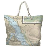 NC: New Bern, NC Nautical Chart Tote Bag
