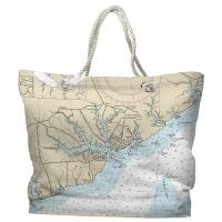 NC: Oriental, NC Nautical Chart Tote Bag