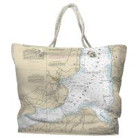 NC: Edenton, NC Nautical Chart Tote Bag