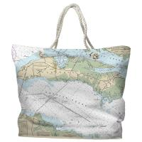 NC: Roanoke Island, NC Nautical Chart Tote Bag
