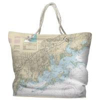CT: Norwalk, CT Nautical Chart Tote Bag