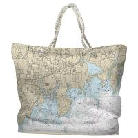 CT: Stamford, CT Nautical Chart Tote Bag