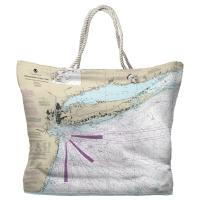 NY: Long Island, NY Nautical Chart Tote Bag