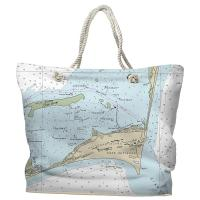 NC: Cape Hatteras, NC Nautical Chart Tote Bag