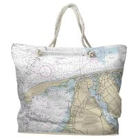 NJ: Sandy Hook, NJ Nautical Chart Tote Bag