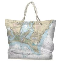 RI: Point Judith Harbor, RI Nautical Chart Tote Bag