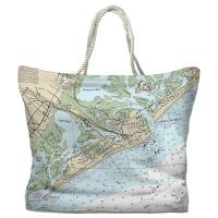 NJ: Atlantic City, NJ Nautical Chart Tote Bag