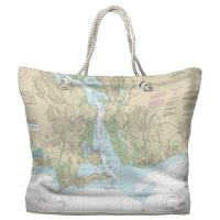 CT: Old Saybrook, Old Lyme, CT Nautical Chart Tote Bag