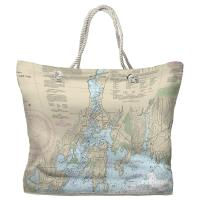 CT: Mystic, CT Nautical Chart Tote Bag