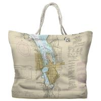 WA: Olympia, WA Nautical Chart Tote Bag - (2) Different Sides