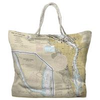 OR: Portland, OR Nautical Chart Tote Bag - (2) Different Sides